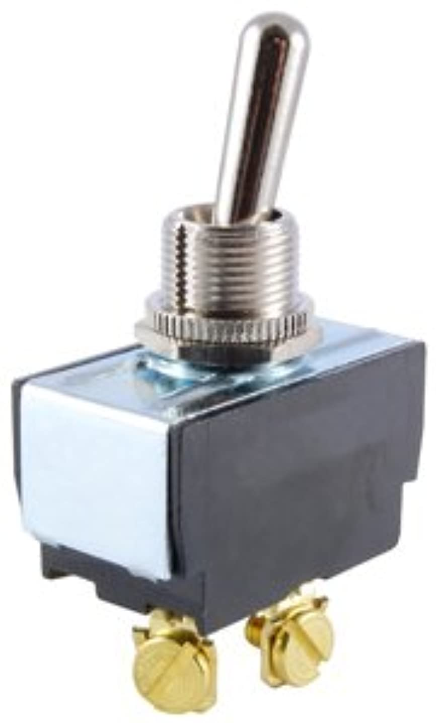 NTE Electronics 54-095 Bat Handle Toggle Switch, Spdt Circuit, On-Off-On Action, Brass/Nickel Plate Actuator, Screw Terminal, 20A, 125V