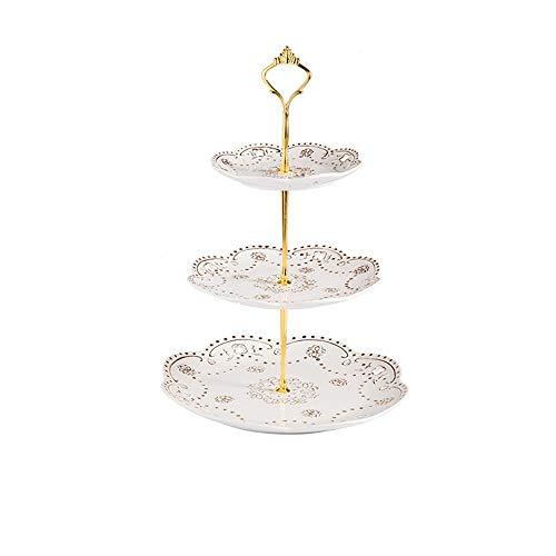 Taartstandaard, 3-laags keramiek, taartstandaard, reliëfpatroon, fruitbord voor nachtkastje, tafeltje, kan worden gebruikt voor verjaardagsfeestje, dessert, bruiloft, buffet, feestje, eenvoudig te bedienen en veelzijdig