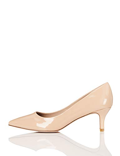 Amazon-Marke: FIND Kitten Heel Court Pumps, Beige (Nude Patent), 37 EU