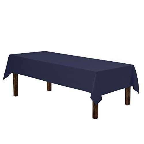 """Gee Di Moda Rectangle Tablecloth - 60 x 102"""" Inch - Navy Blue Rectangular Table Cloth for 6 Foot Table in Washable Polyester - Great for Buffet Table, Parties, Holiday Dinner, Wedding & More"""