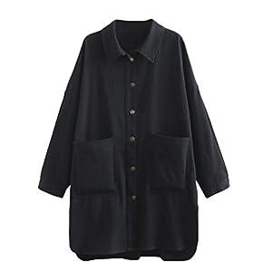 Women's Cotton Jacket Blouse Button Down Shirts Loose Outfit Lightwei...