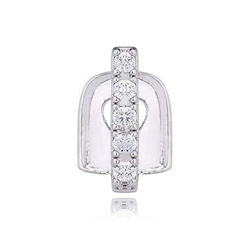 N\ A Einzelne Diamant-besetzte Zahnspangen Hip Hop Gold Bar Zahnspangen Lustige Einzelstreifen-Diamant-Zahnspangen Strass-Zahnspangen Hip Hop Party Schmuck Zahnschmuck 1.1×0.7×0.2cm/Silber