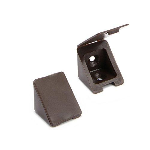 40 x Korpusverbinder/Möbelverbinder/Eckverbinder mit Abdeckklappe | Sossai® BT1, 2-Loch | Farbe : Braun | Material : Kunststoff