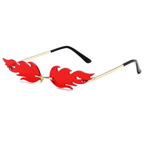 Grainas Gafas de sol de llama de fuego sin montura de metal dorado sin marco para mujeres y hombres (rojo 2)