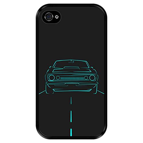 Hapdey Funda Negra para [ Apple iPhone 4-4S ] diseño [ Coche rodando por la Carretera ] Carcasa Silicona Flexible TPU