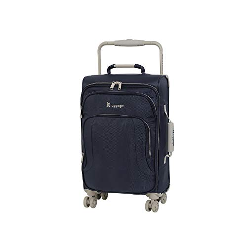 IT Luggage 22' World's Lightest 8 Wheel Spinner, Evening Blue With Cobblestone Trim, One Size