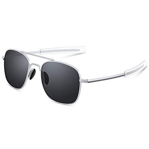 Mens Aviator Sunglasses Classic Military Pilot Navigator Army Polarized Sun Glasses Silver