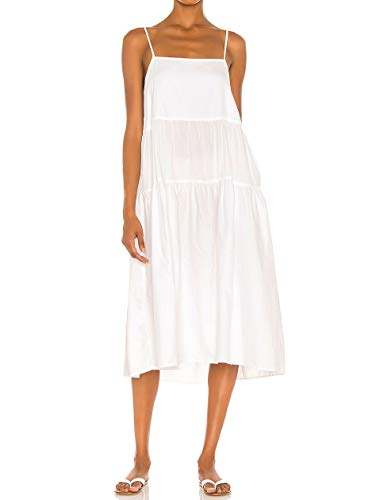 CMZ2005 Womens Casual Summer Drapey Beach Dress Adjustable Spaghetti Straps Loose Dress with Pockets 71975 (White, S)
