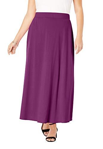 Jessica London Women's Plus Size Everyday Knit Maxi Skirt - 26/28, Purple Tulip