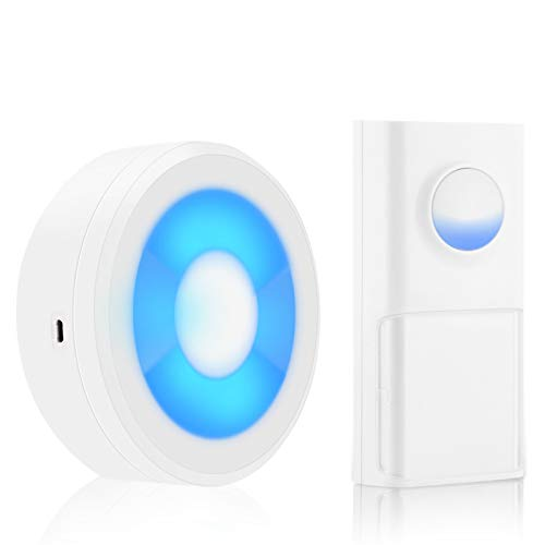 PrittUHU USB Powered IP55 Impermeable inalámbrico Doorbell Smart Bell Anillo Chime Llamada 433 MHz LED Luz de Luz Inicio (Color : W1 Button 1 Receiver)