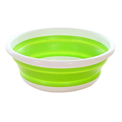 Assiavree Lavabo Plegable Cuenca Plegable Cubo Plegable portátil de lavandería Lavabo del hogar Car Wash Lavado de Viajes Acampar al Aire Libre Baño Cuenca-L Azul Palangana Plegable (Color : M Green)