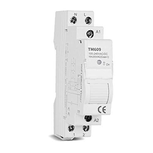 Berrywho Smart Switch Temporizador de Control Remoto inalámbrico WiFi Memoria de aplicación para Carril DIN 16a Diario Semanal Tm609 para Industrial Inicio