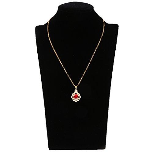 Hellery Mujeres De Moda Collar De Diamantes De Cristal Granate Colgante Joyas De La Boda - Dorado