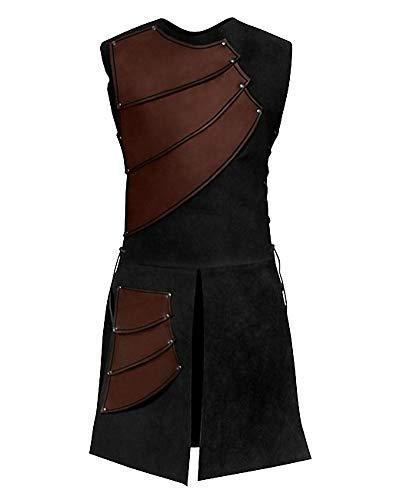 Hombres Túnica Sin Mangas Camisetas Cuello Redondo Chaleco Medieval Chaqueta