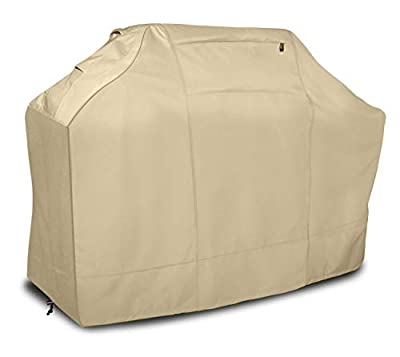 Leader Accessories Waterproof BBQ Cover 600D Heavy Duty Barbecue Gas Grill Cover for Weber, Brinkmann, Char Broil (58 in.L x 24 in.W x 48 in.H, Beige)