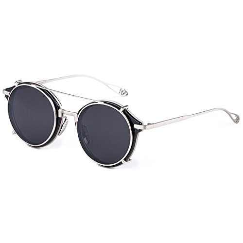 Dollger Clip On Double Lens Oval oval Sunglasses Steampunk Mirrored Sunglasses