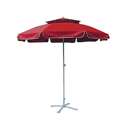 BAIYAN Ombrello, Giardino a Doppio Piano, ombrellone Antivento e Stabile, Parasole da Esterno a 2.4m per la Spiaggia Piscina Patio ombrelloni, 4 Colori, UV Antivento Antipioggia
