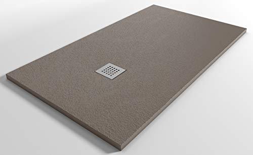 Plato de ducha reducido de resina mineral StoneLine, fabricado en Italia, marrón, 140 x 70 cm
