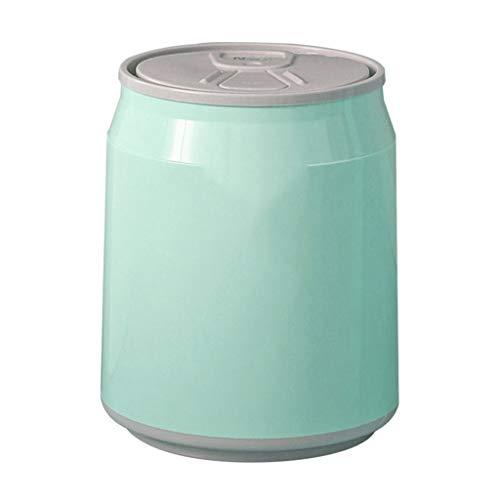 XIAOQIU Abfalleimer Creative-Push-Typ Trash Can Auto-Haus Schlafzimmer Badezimmer mit Deckel Coke Dosen Sealed Multi-Color Trash Basket Müllbehälter (Color : Green, Größe : 14L)