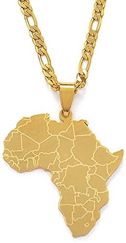 Collar para mujer Collar para hombre África tarjeta colgante collares colgantes mujeres hombres color oro joyería africana 45cm cadena colgante collar regalo para niñas niños