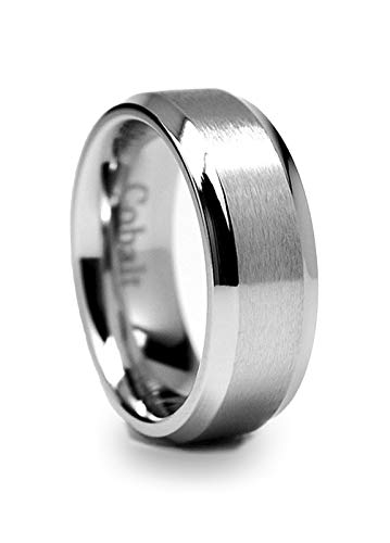 8MM High Polish Matte Finish Men's Cobalt Chrome Ring Wedding Band Size 10.5