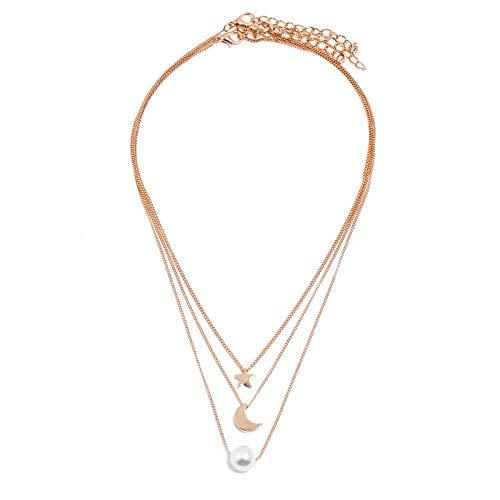 AYZ Boho - Gargantilla de oro con capas, diseño de estrellas, luna y perlas, accesorios de joyería...