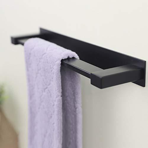 RUICER Handtuchhalter Ohne Bohren - Schwarz Handtuchstange für Badezimmer Selbstklebend, Edelstahl