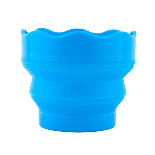 Fivtyily Portable Collapsible Paint Brush Washer with Brush Holder Silicone Washing Bucket for Watercolor Acrylic Oil Painting (Blue)