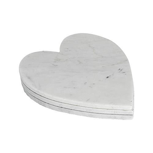 Argon Tableware Plateaux en marbre - en Forme de cœur - pour Servir des Repas - 230 x 270 mm - Blanc - Lot de 3