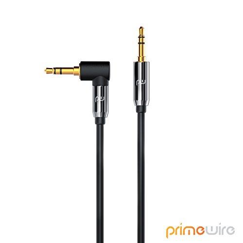 CSL - 2m Audio Klinkenkabel 90 Grad gewinkelt Verbindungskabel für AUX Eingänge - 90 Grad Winkelstecker - Voll-Metallstecker - passgenau - 3,5mm Audiokabel HQ Premium Series