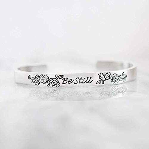 Be Still Floral Hand Stamped Cuff Bracelet - Silver Jewelry