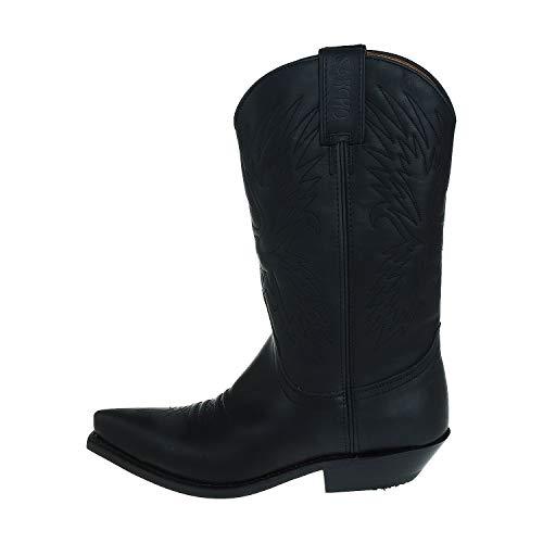 Sancho Boots Herrenschuhe Cowboystiefel Black Pull Gras Schwarz BW5326 (Numeric_37)