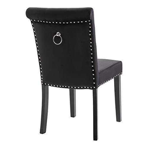 KEEPREAPER Esszimmerstuhl Schwarz Samt Küchenstühle Polsterstuhl Design Stuhl mit Armlehne, mit Sitzfläche aus Samt, Gestell aus Holz, Schwarze Beine (Black*1)