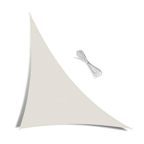 Patio Shack Toldo Vela de Sombra Triángulo Rectángulo 5x5x7,1 m, HDPE Transpirable y Protección Rayos UV para Exterior, Jardín, Terrazas Crema