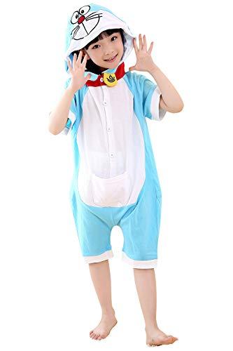 YAOMEI Niños Onesies Kigurumi Pijamas Verano, Unisexo Niña Mangas Cortas Traje Disfraz Animal Pyjamas Capucha, Ropa de Dormir Halloween Cosplay Navidad Animales de Vestuario (110, Doraemon)