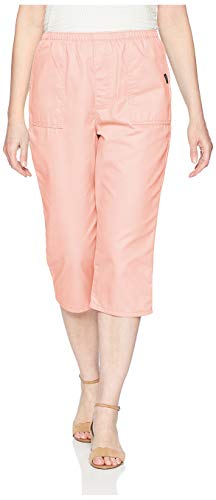Chic Classic Collection Women's Cotton Pull-On Utility Pocket Capri with Elastic Waist, Mellow Rose, 16 AVG
