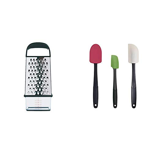 OXO 1057961 Good Grips Box Grater,Silver,1EA & Good Grips 3-piece Silicone Spatula Set, Raspberry/White/Green