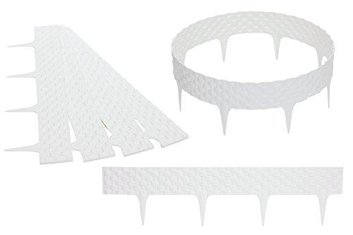 FUZZIO Premium 3,2m Beeteinfassung Beetumrandung Rasenkante Gartenpalisade Beetzaun Rattan (3,2 m, Weiß)