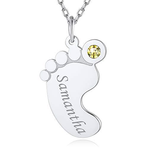 Custom4U Cadena para Mujer Pies Bebé Collar Moderno para Madres Plata de Ley 925 Oro Blanco Nombres Personalizados con Piedras de Nacimiento Colgante Mama Hijos