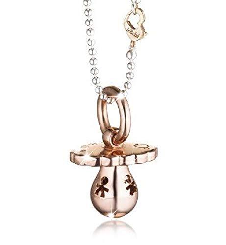 leBebé / Suonamore / ciondolo sonaglino argento e oro rosa con sagome traforate / collanina argento / moschettone argento e oro rosa