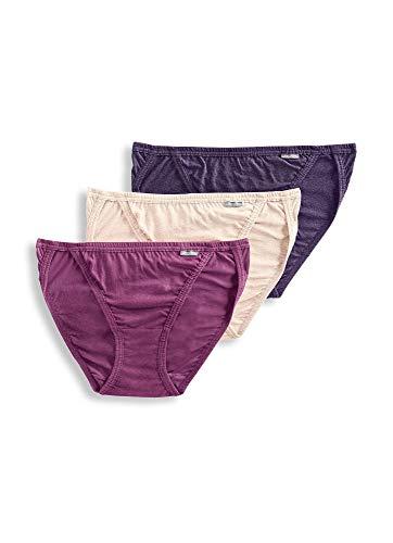 Jockey Women's Underwear Elance String Bikini - 3 Pack, Oatmeal/Boysenberry/Perfect Purple, 5