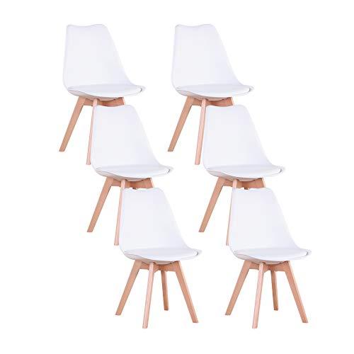 GrandCA Set di 4/6 sedie, sedia da pranzo, sedia in stile nordico, adatta per soggiorno, sala da pranzo (Bianco-6)