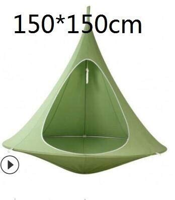 Hammocks Conical Tent Tree Hanging Silk Cocoon Swing Chair Child And Adult Indoor And Outdoor Tent (Color : Green 150cm)