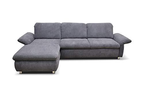 Domo Collection Smoothie, Schlafsofa mit Arm-und Rückenfunktion, L-Form Eckcouch mit Bett, 183 x 276 x 80 cm, Polsterecke in dunkelgrau