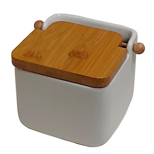 Salero de Cocina con Tapa Madera de Bambú, Salero de Ceramica (DOLOMITE) Blanco 12 X 12 X 11 y Tapa Basculante. Diseño cuadrado de fácil apertura y gran capacidad.Salero, azucarero o especiero