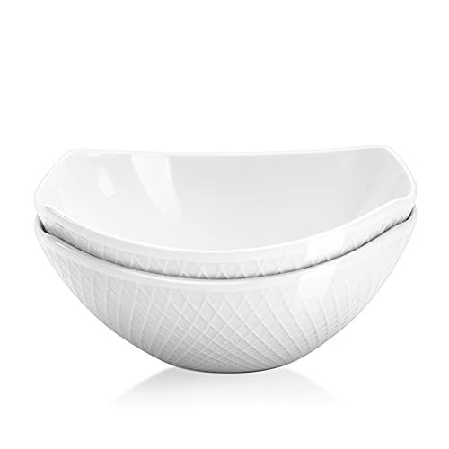 Yedio Salad Bowls, 42 Ounces Porcelain Bowls Set for Kitchen, Soup, Oatmeal, Pasta, Snacks, Set of 2, White, Oven Dishwasher Safe