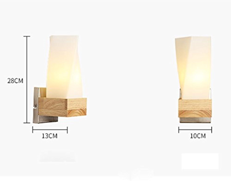 JU FU -Lichtbefestigung Kreative Massivholz Schlafzimmer Nachttischlampe Moderne minimalistischen japanischen Holz Wand Lam @ (Farbe   3W)