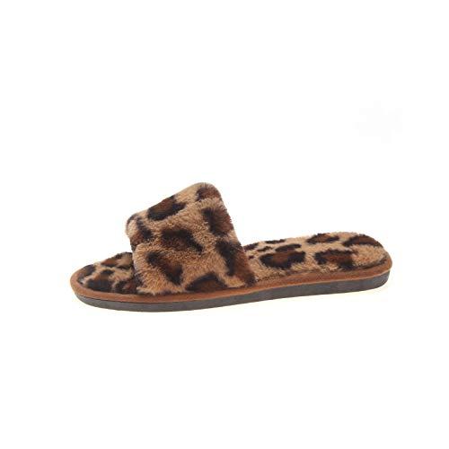 LANFIRE Herbst und Winter Leopard Pantoffel Tierpantoffeln Plüsch Hausschuhe Warme Hausschuhe rutschfeste Hausschuhe (38/39 EU, Brown)