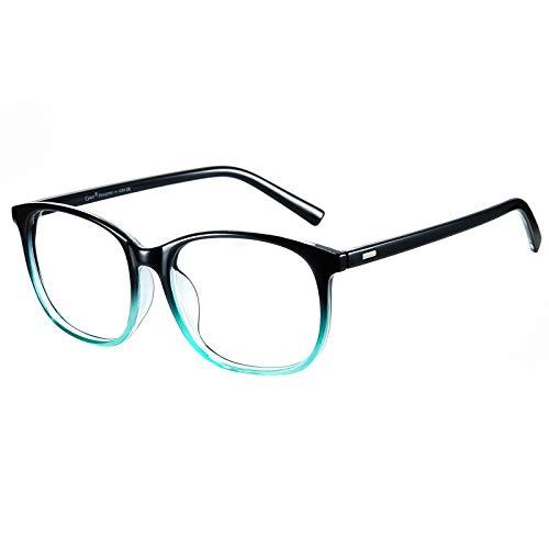 Cyxus(シクサズ)ブルーライトカットメガネ pcメガネ UVカット ウェリントンタイプ 紫外線カット パソコン用メガネ 輻射防止 アンチグレア 睡眠改善 目の疲れを緩和する 原宿眼鏡 ファッション 男女兼用 (グラデーション青緑)