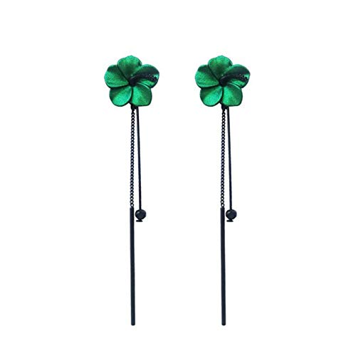 LPOQW Conjunto de pendientes largos de borlas con borlas de flores verdes retro temperamento largo estilo oído colgante para mujer, verde
